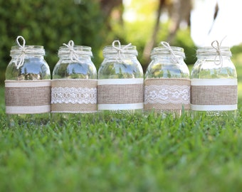 Burlap Sleeves for Pint Size 16 oz Baby Mason Jars Sleeves and Twine Only Jars not included Set of 4 to Spell Baby