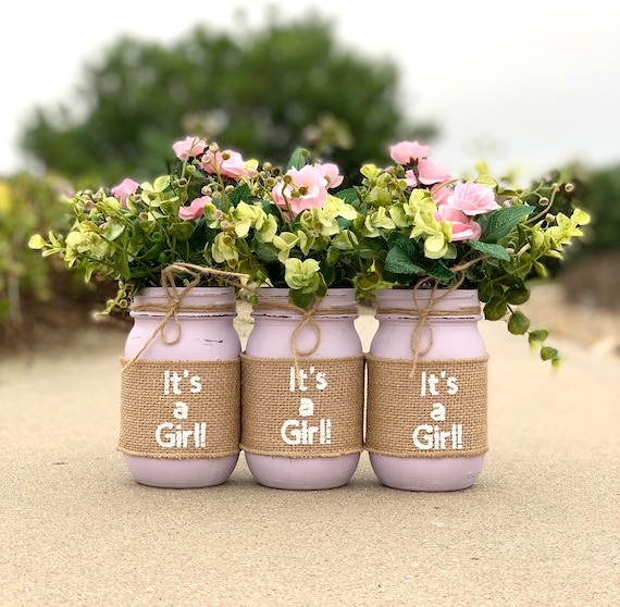 It S A Girl Baby Shower Mason Jar Centerpieces Girl Baby Etsy