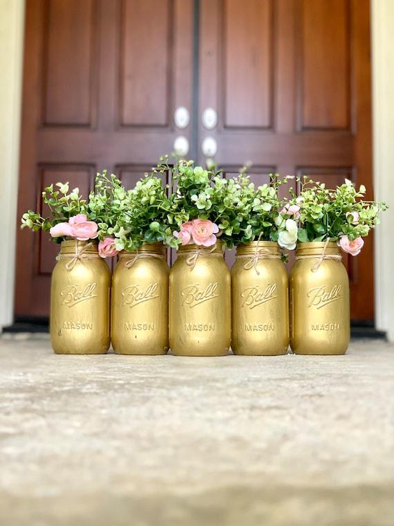 Gold Mason Jars 50th Wedding Anniversary Decorations Gold Centerpiece Wedding Gold Anniversary Decorations Gold Mason Jar Centerpieces