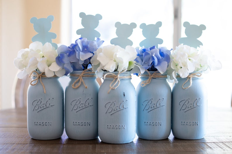Baby Shower Mason Jar Centerpieces Blue Mason Jars Etsy