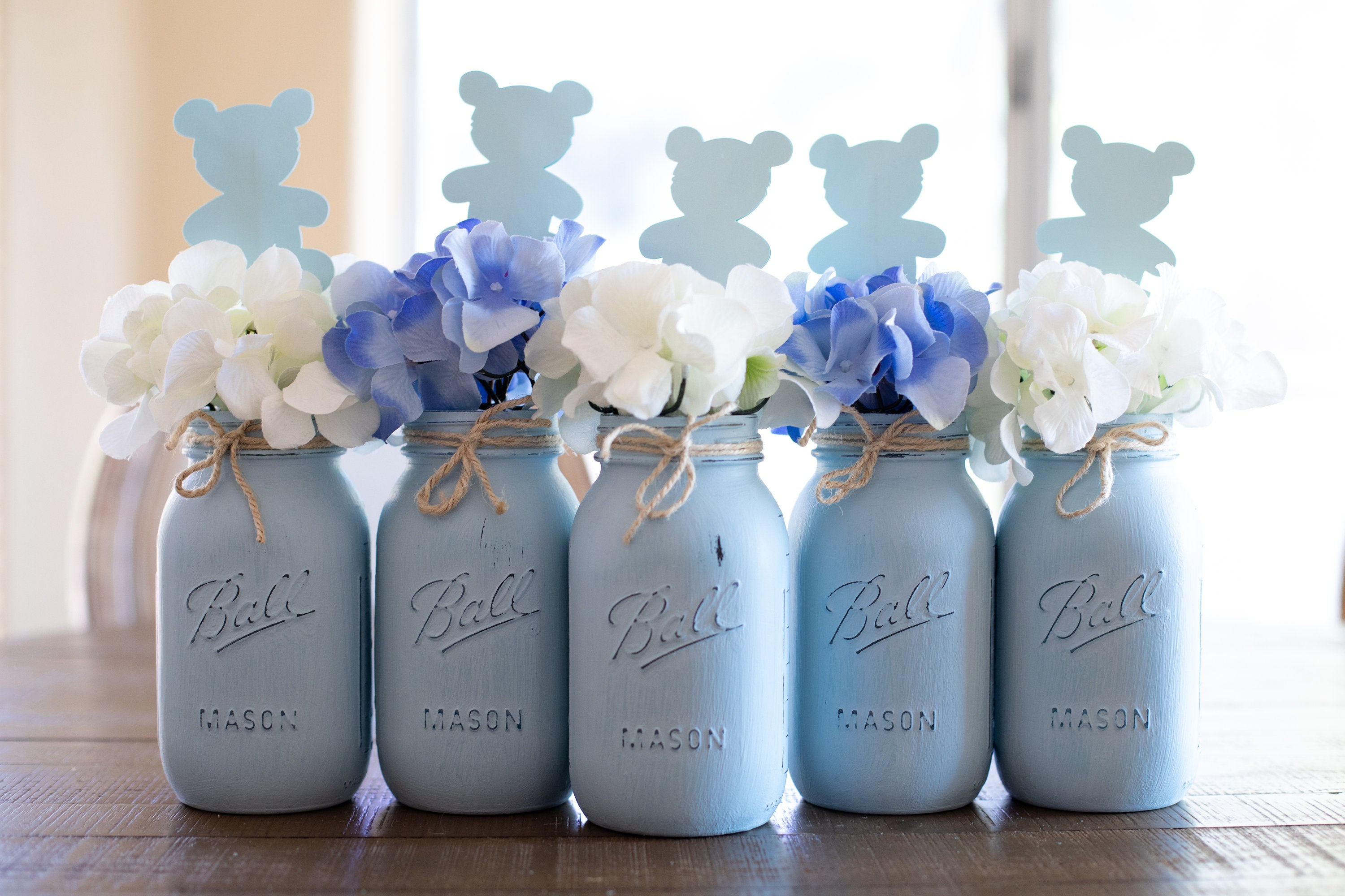 9008b0c2cde Baby Shower Mason Jar Centerpieces Blue Mason Jars