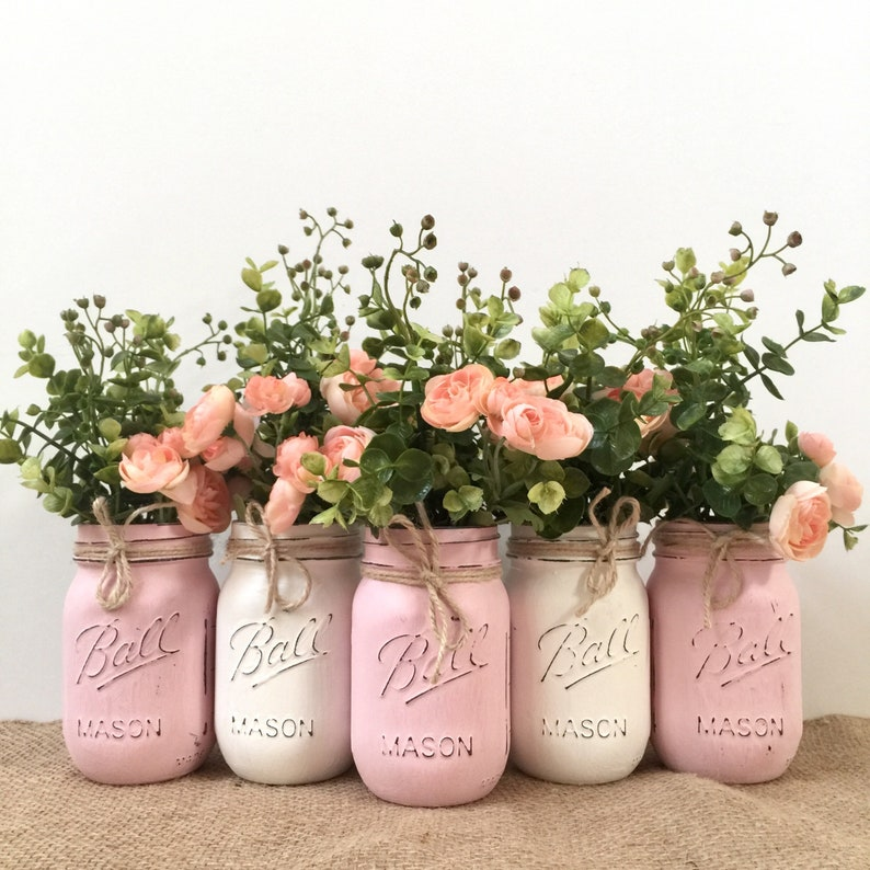 Mason Jar Centerpieces Baby Shower Girl Decorations Boho Etsy