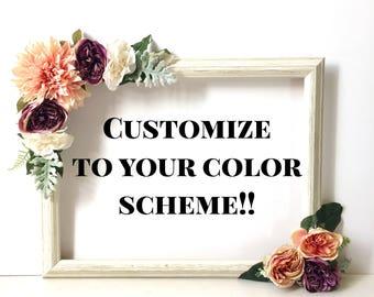 Photo Prop Frame, Engagement Party Selfie Frame,  Wedding Floral Selfie Frame; Selfie Station; Photobooth Frame; Selfie Frame Baby Shower