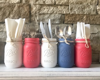 memorial day decor, memorial day decorations, memorial day centerpiece, memorial day mason jar, american flag mason jar, independence day