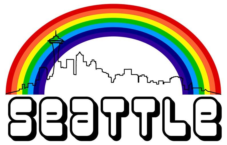 65d2fb6e35e06a Seattle Rainbow Skyline Plus Size Shirt White Shirt Gray