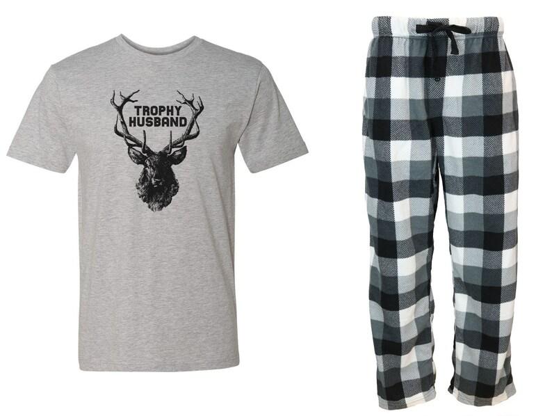 Deer Hunter Fleece PJ Outdoorsman Dad Gift For Hunter Hunting Hunter Plus Size Buck Shot Trophy Husband Grey Pajama Set Shotgun