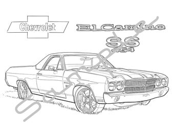 1970 Chevy EL CAMINO SS, Adult Coloring Page, Printable Coloring Page, Coloring Page for Adults, Digital Instant Download 1 page