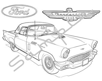 1957 FORD THUNDERBIRD, Adult Coloring Page, Printable Coloring Pages, Coloring Page for Adults, Digital Instant Download 1 page