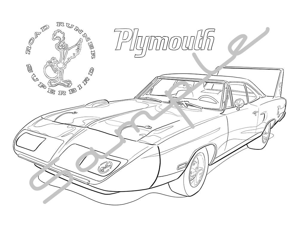1970 plymouth roadrunner superbird adult coloring page etsy 1971 Chevy Stingray 50