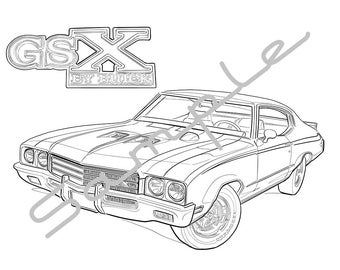 1969 BUICK SKYLARK GSX, Adult Coloring Page, Printable Coloring Page, Coloring Page Adults, Digital Instant Download 1 page