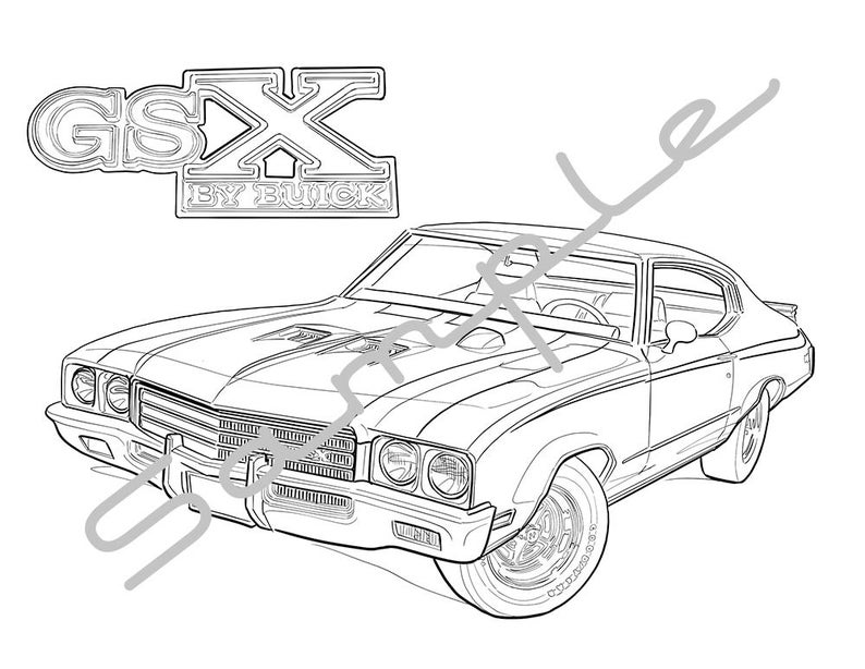 1971 Buick Skylark Gsx Adult Coloring Page Printable