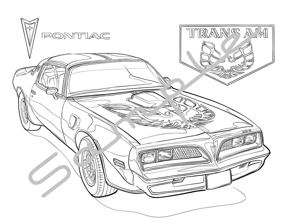 1978 pontiacfirebird trans am adult coloring page printable