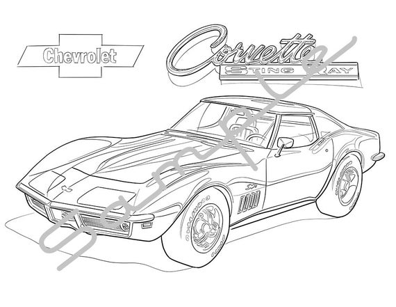 1970 Chevrolet Corvette Stingray Adult Coloring Page
