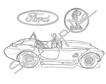 1965 FORD SHELBY COBRA, Adult Coloring Page, Printable Coloring Pages, Coloring Page for Adults, Digital Instant Download, 1 page