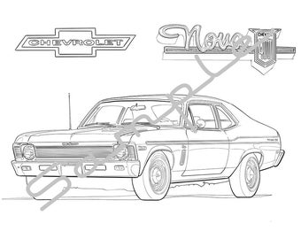 1970 CHEVY NOVA, Adult Coloring Page, Printable Coloring Page, Coloring Page for Adults, Digital Instant Download 1 page