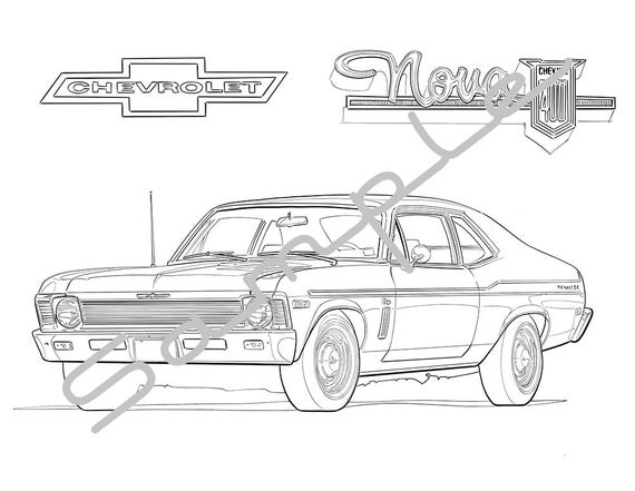 1970 CHEVY NOVA Adult Coloring Page Printable Coloring Page