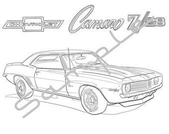 1969 CHEVY CAMARO Z28, Adult Coloring Page, Printable Coloring Pages, Coloring Page for Adults, Digital Instant Download 1 page