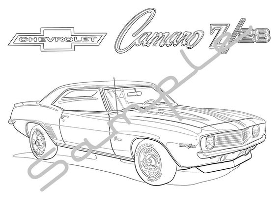 1969 Chevy Camaro Z28 Adult Coloring Page Printable Coloring Pages Coloring Page For Adults Digital Instant Download 1 Page