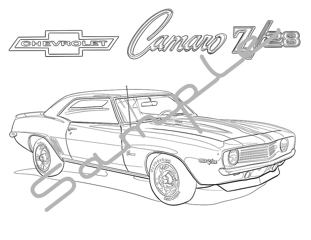 1969 chevy camaro z28 adult coloring page printable coloring etsy 1970 Stingray Convertible 50