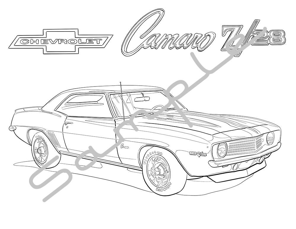 1969 chevy camaro z28 adult coloring page printable coloring etsy Chevy Nova Parts 50