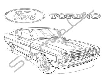 1968 FORD TORINO, Adult Coloring Page, Printable Coloring Pages, Coloring Page for Adults, Digital Instant Download 1 page