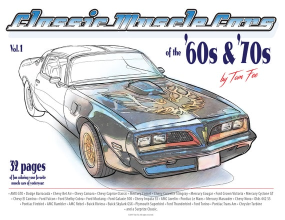 Muscle Cars Of The 60s And 70s Vol 1 Adult Coloring Book Etsy