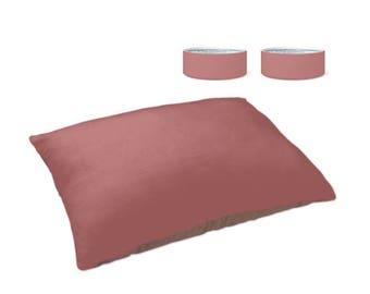 Pet Bed/ Floor Pillow & Bowl Set - Dusty Rose / Modern/Decor/ Dog/Cat