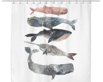 Watercolour Whales Shower Curtain