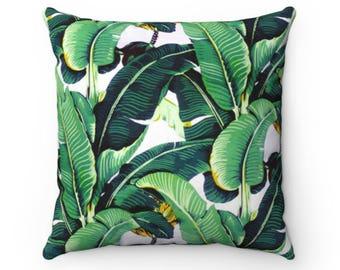 Tropical Banana Leaf Decorative Throw Pillow (4 Sizes)