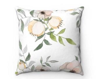 Floral Blush Decorative Throw Pillow (4 Sizes)