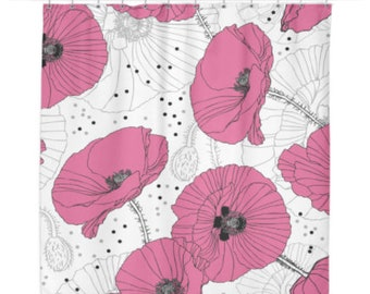 Delicate Pink Poppy Shower Curtain