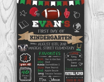 Football First day of school sign, first day of school chalkboard sign, first day of preschool sign, first day of kindergarten, 1st day sign