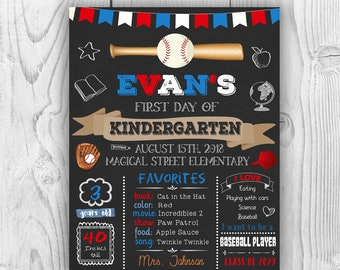 Baseball First day of school sign, first day of school chalkboard sign, first day of preschool sign, first day of kindergarten, 1st day sign