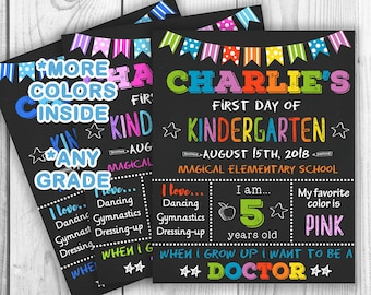 First Day Of School Sign, Back To School Sign, Kinder, First Day Of School Chalkboard, 1st Day Of School Sign, Photo Prop, Preschool Sign