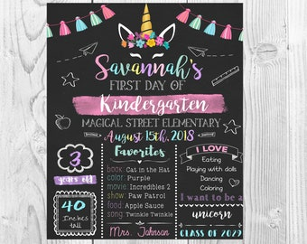 Unicorn girls First day of school chalkboard printable sign, back to school sign,Back to school chalkboard sign, 1st day Back to School Sign