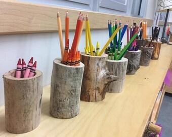 Retour à l'école de vente! Pot à crayon en bois