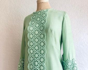 Vintage 1960s Mint Green Shift Dress