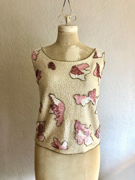 Vintage 1950's Beaded Knit Top