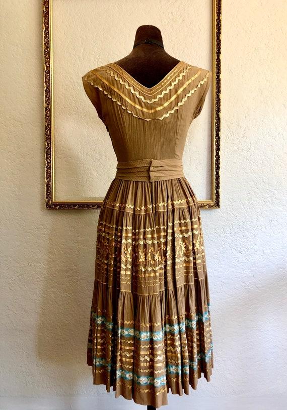 Vintage 1950's Crêpe Chiffon Dress - image 5