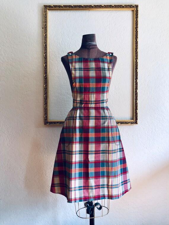 Vintage 1950's Plaid Pinafore Dress