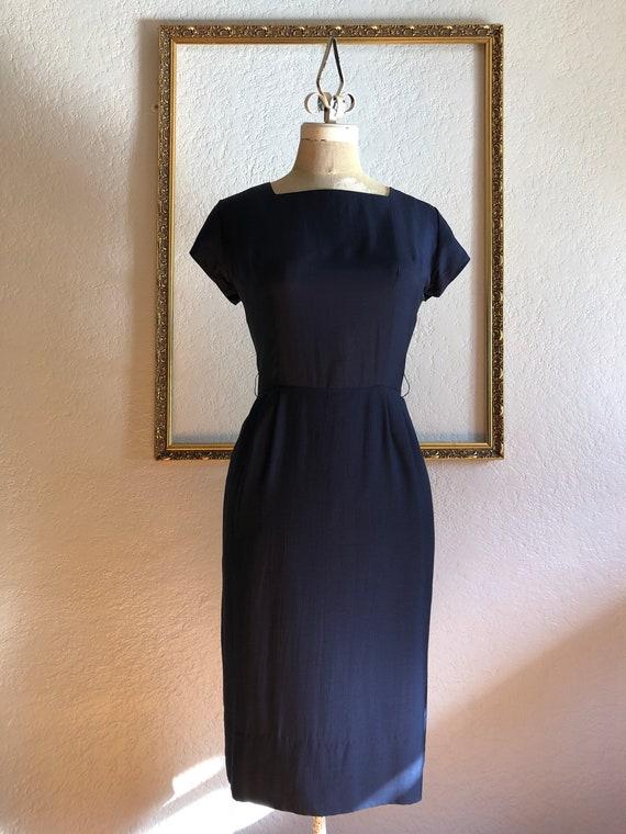 Vintage 1950's Navy Silk Dress