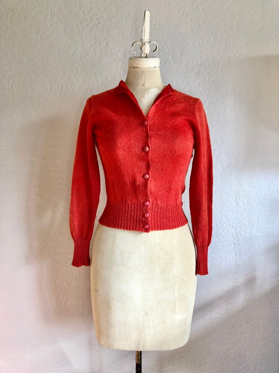 Vintage 1940s Red Hand Knit Cardigan