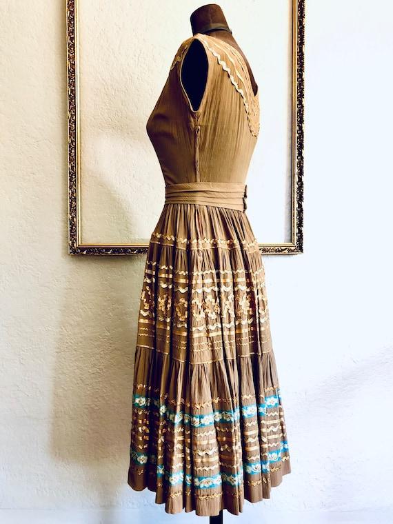 Vintage 1950's Crêpe Chiffon Dress - image 3