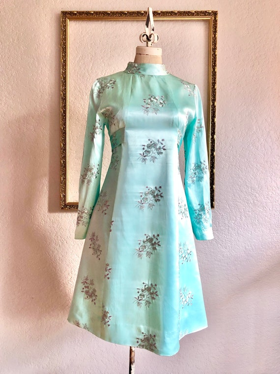 Vintage 1960s Winter Blue Shift Dress