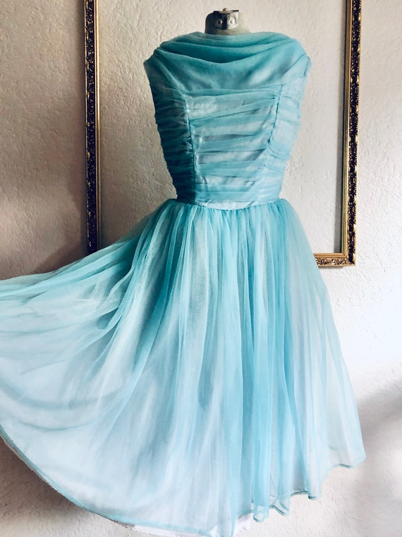 Vintage 1950's Blue Chiffon Dress