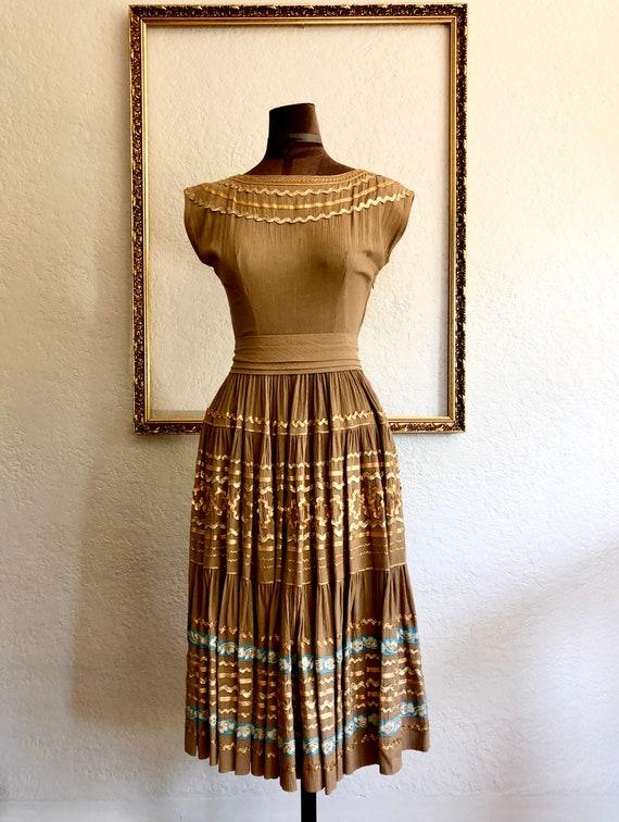 Vintage 1950's Crêpe Chiffon Dress - image 7