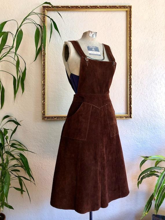Vintage Suede Pinafore Dress
