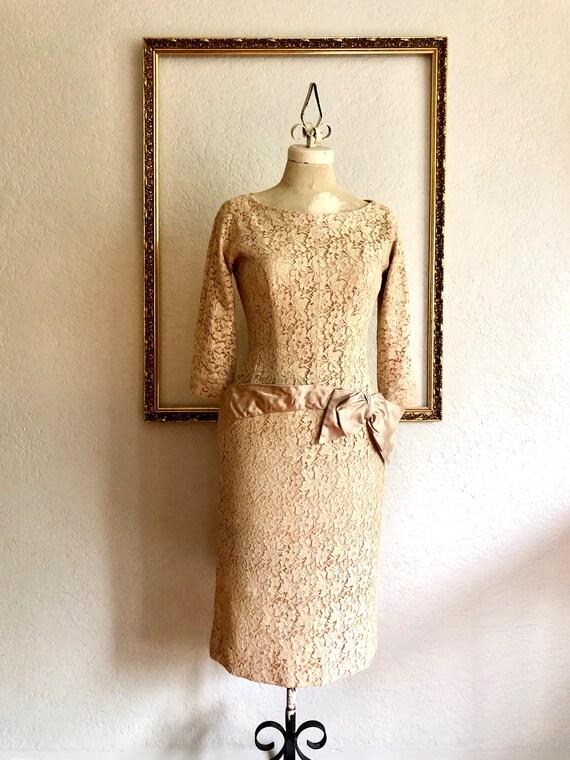 Vintage 1940's Lace Pencil Dress