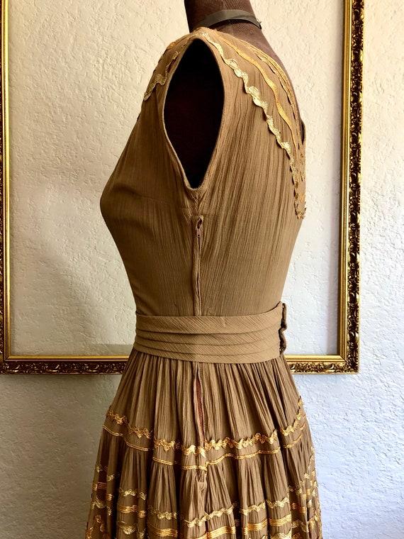 Vintage 1950's Crêpe Chiffon Dress - image 4