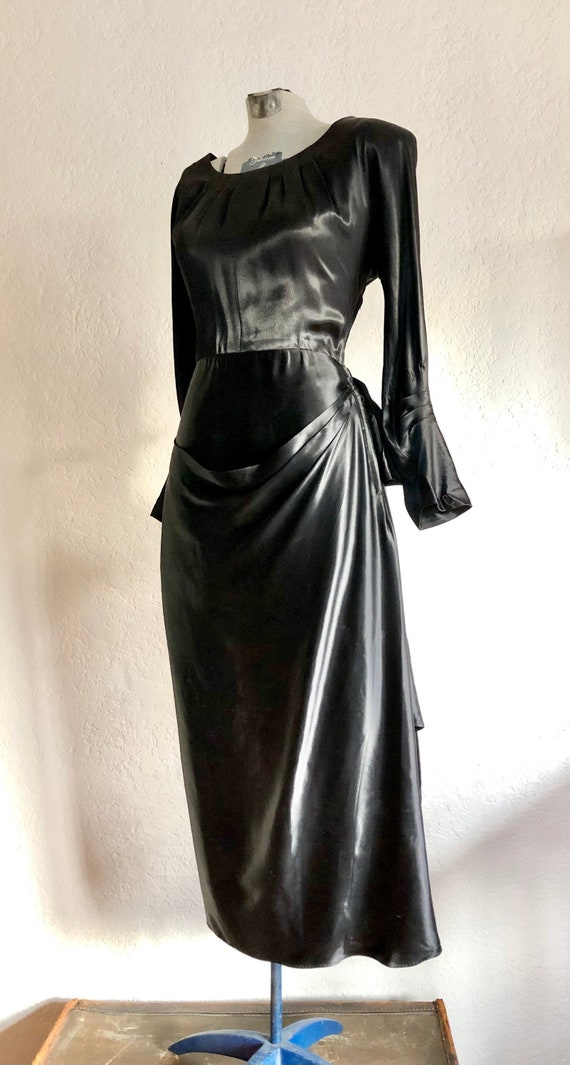 Vintage 1940s Black Satin Dress